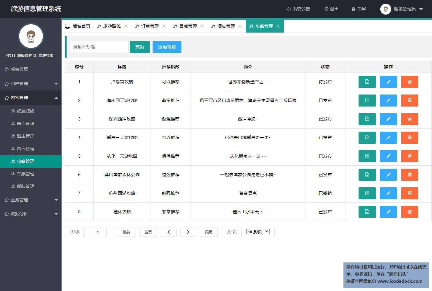 源码码头-Springboot旅游网站管理系统-管理员角色-旅游攻略管理