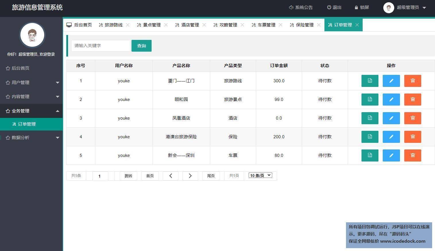 源码码头-Springboot旅游网站管理系统-管理员角色-订单管理