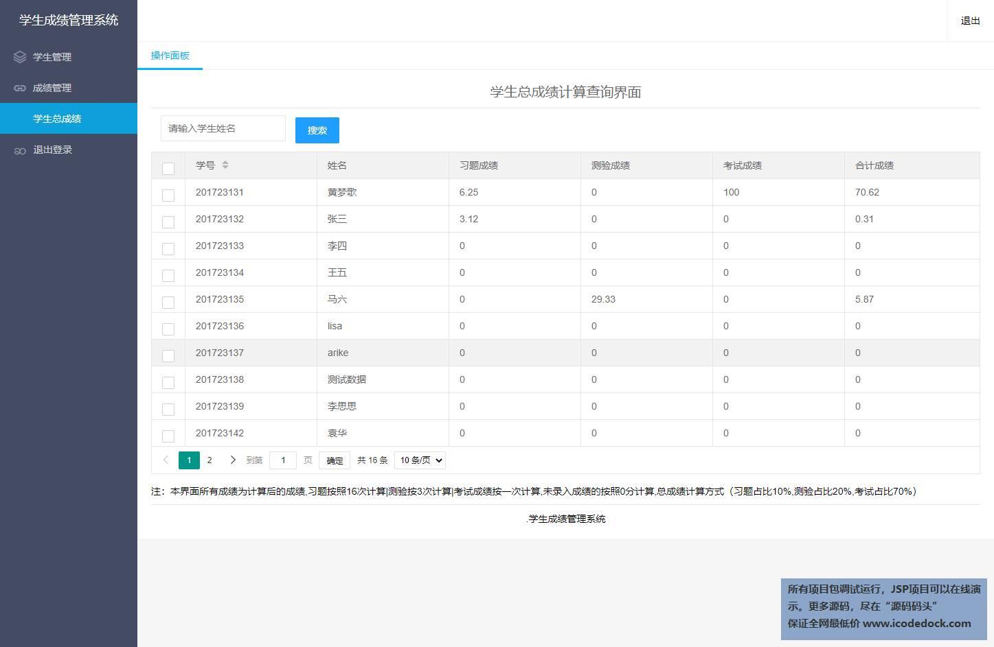 源码码头-Springboot简单学生成绩信息管理系统-教师角色-查看总成绩