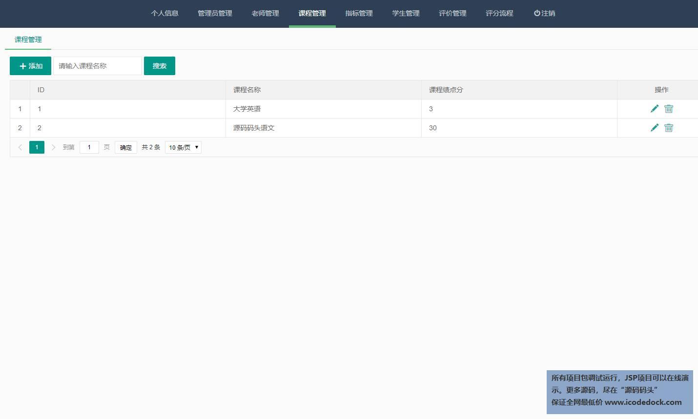 源码码头-Springboot课程评分评价管理系统-管理员角色-课程管理增删改查
