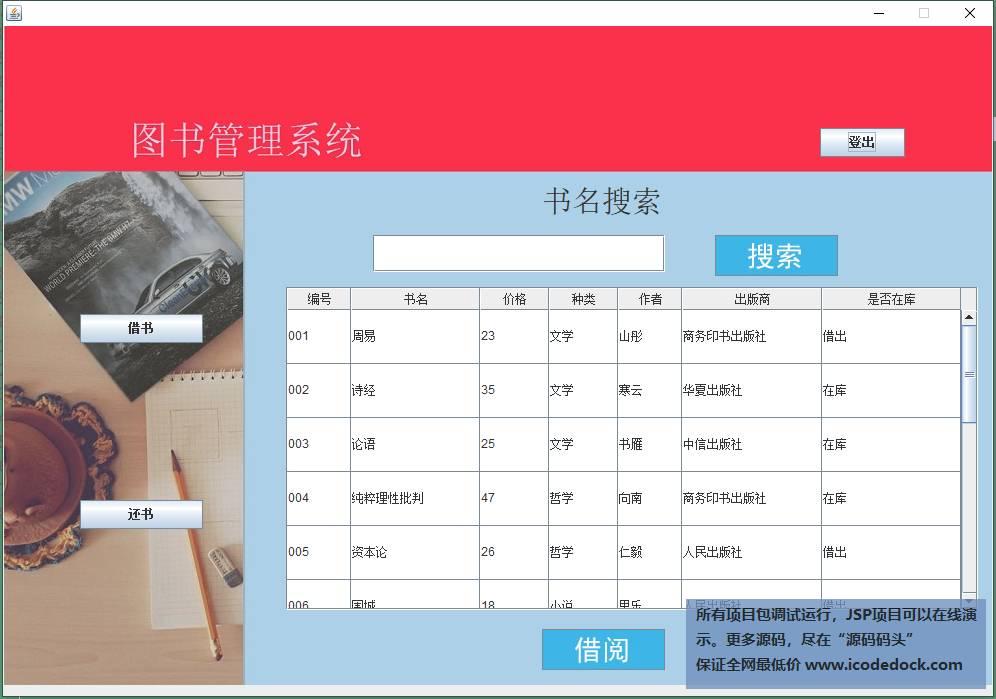 源码码头-swing图书馆图书借阅管理系统-读者角色-读者主页面